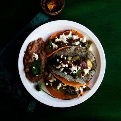 Tacos de papa y chile poblano or Potato and Poblano Pepper Tacos