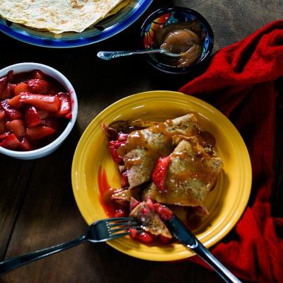 French Crepes and Gluten-Free Oat Crepes with Strawberries and Cajeta