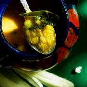 Corn and Poblano Pepper Soup with a Touch of Curry Powder