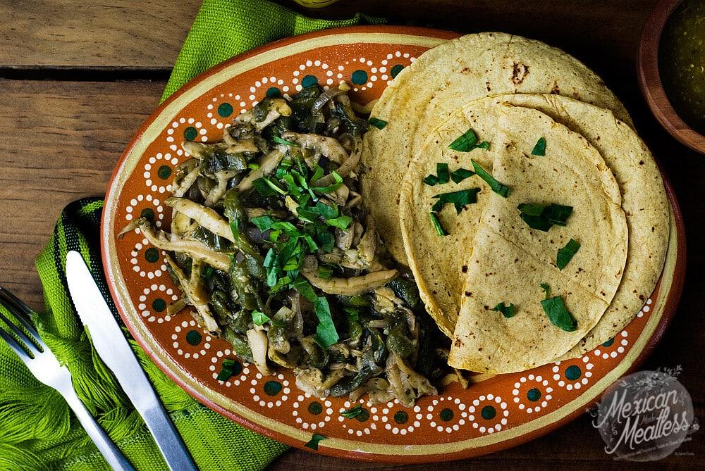 Easy Vegan Fajitas | Oyster Mushroom & Fire Roasted Poblano Pepper Fajitas