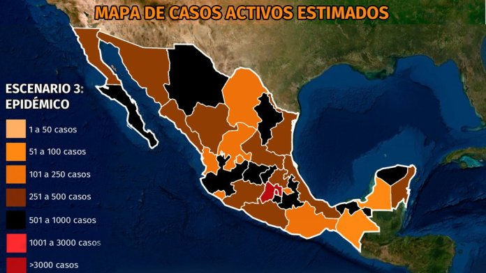 Map of coronavirus in Mexico April 8, 4 states still at over 30% to 49% intensive care occupancy