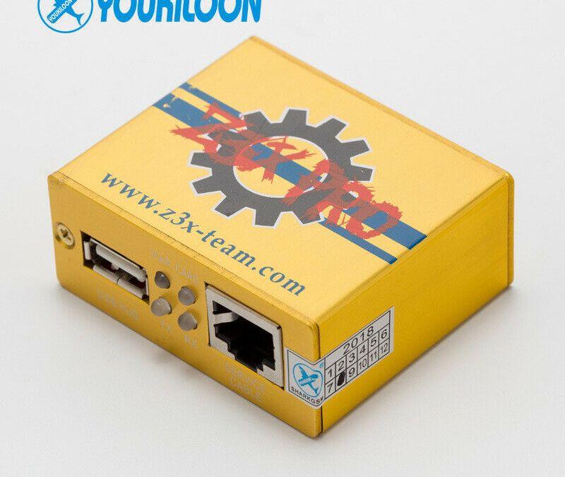Gold z3x Pro box Desbloqueo activado Reparación para teléfonos Samsung + 5pcs Cables