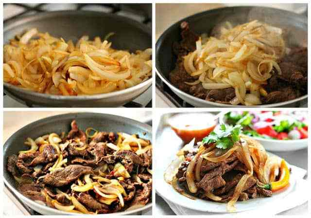 Bistec encebollado - steak and onions
