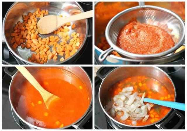 Mexican Shrimp Soup Recipe, step by step instructions with photos of the process.