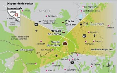 The area highlighted in yellow is the most susceptible to ash fall from the Colima Volcano