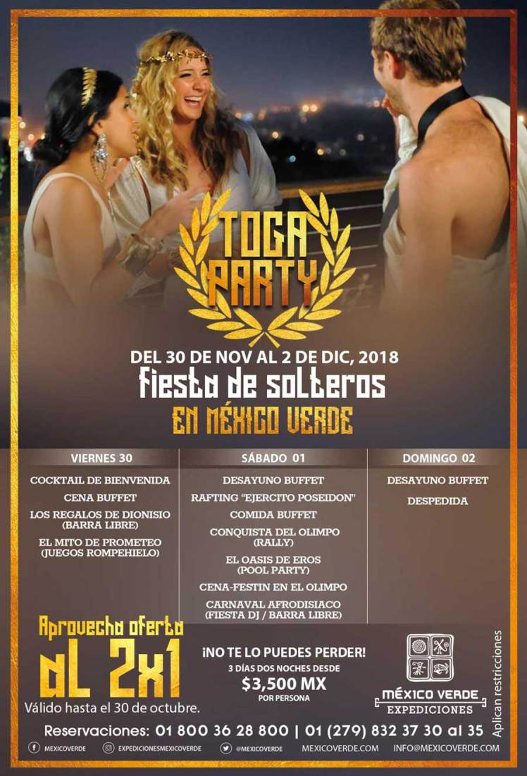 fiesta de solteros 2018 toga party expediciones mexico verde