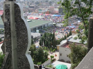 View from the church at the top of the stairs. You can see the pilgrims and their tents throughout the walkways and plaza below.