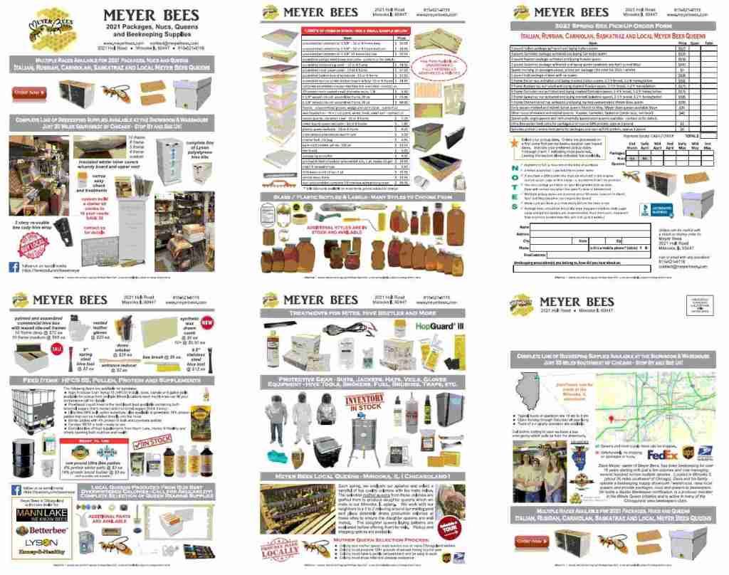 Meyer Bees beekeeping supplies brochure and order form