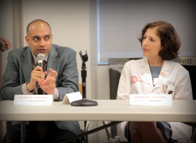 Rohan Ramakrishna, M.D., and Gail Roboz, M.D., at the NYC regional Cancer Moonshot Summit at Weill Cornell Medicine