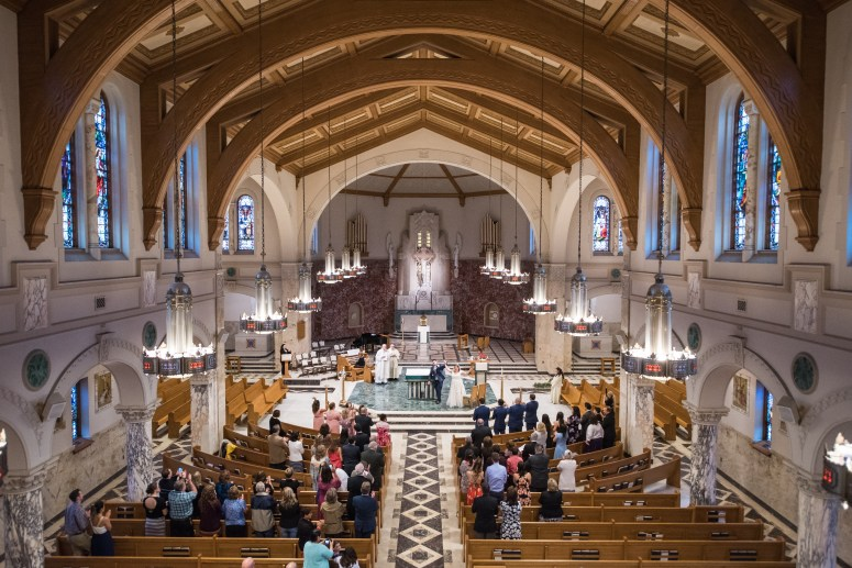 wide church photo wedding