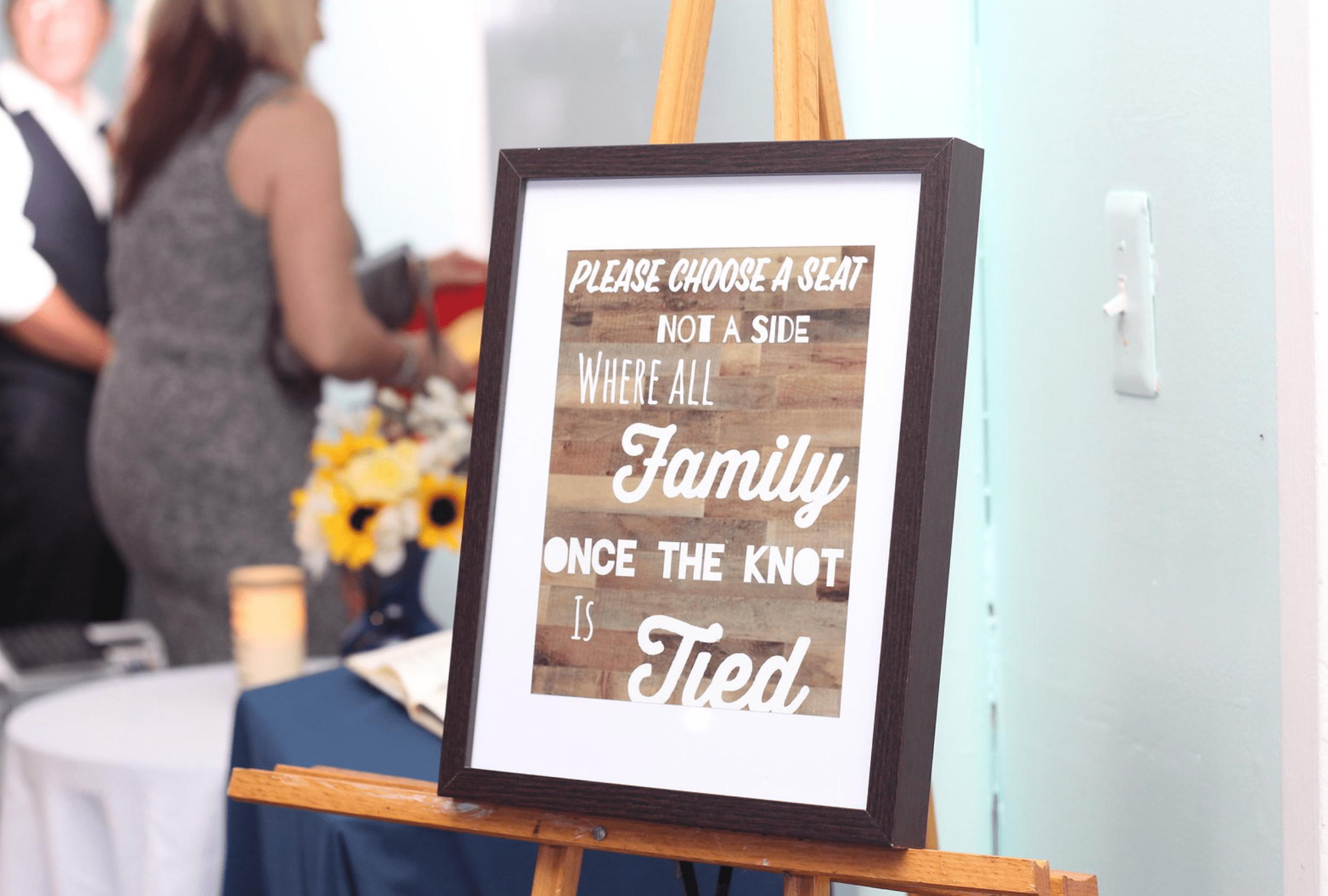 wedding sign choose side