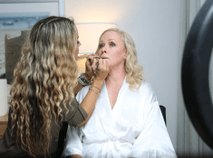 getting makeup done