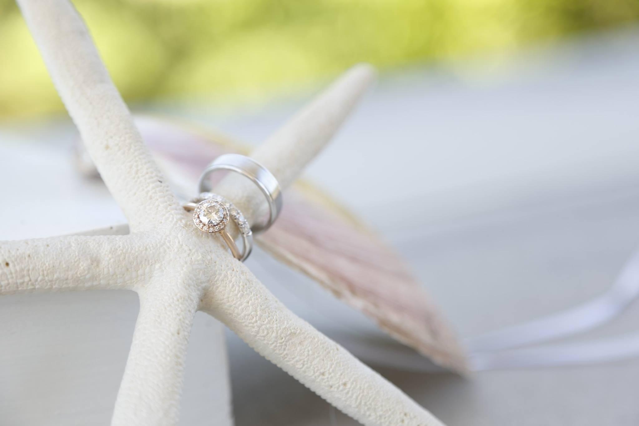 wedding ring on starfish