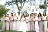 line of bride and bridesmaids