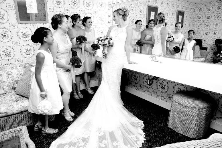 bride and bridesmaids black and white