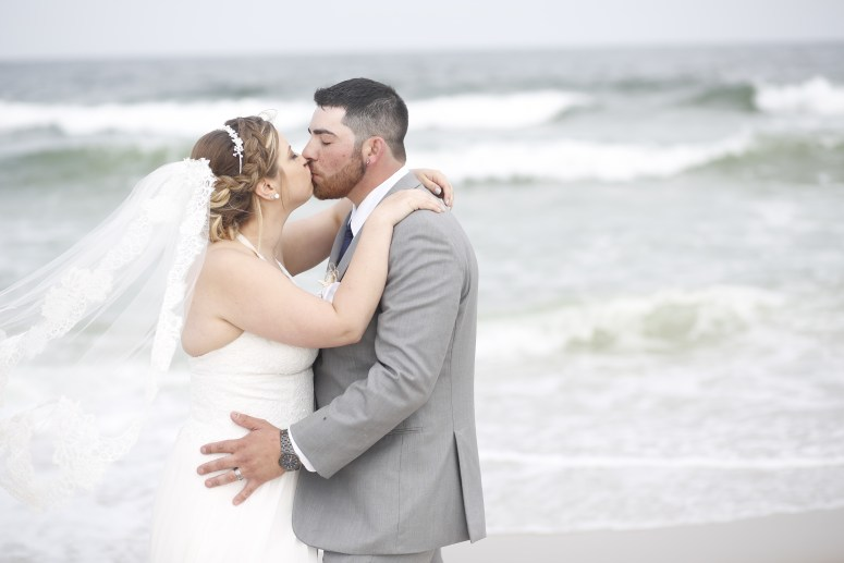 bride kissing groom