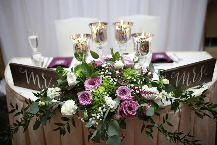 flowers on the table at reception