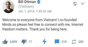 Bill Ottman, người đồng sáng lập mạng xã hội Minds gửi lời chào tới người dùng Việt Nam hôm 1-7.