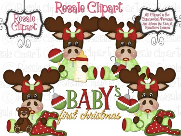 Baby Moose First Christmas Clipart Girl Meylah