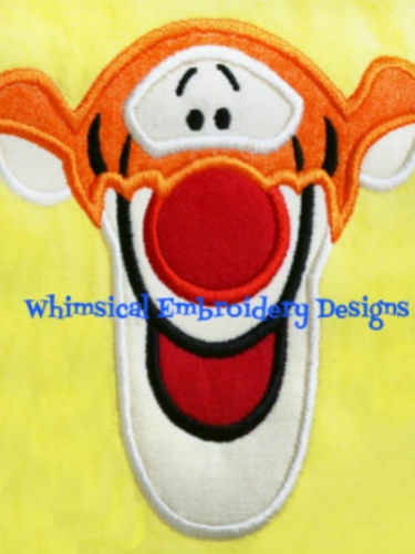 Tigger Winnie The Pooh Face Applique Machine Embroidery