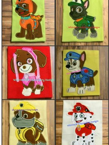 Paw Patrol Set Of 6 Dogs Applique Machine Embroidery
