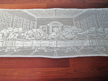 CHRISTMAS SALE The Last Supper Filet Crochet Tablecloth