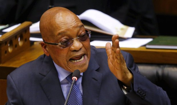 President Jacob Zuma answers questions at Parliament in Cape Town