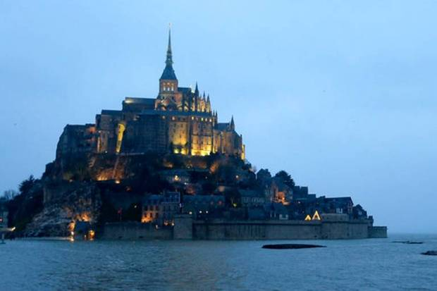 Mont Saint-Michel pictured by night, in western France.
