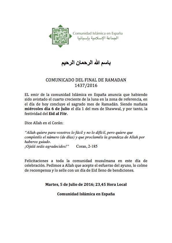COMUNICADO del final de Ramadan
