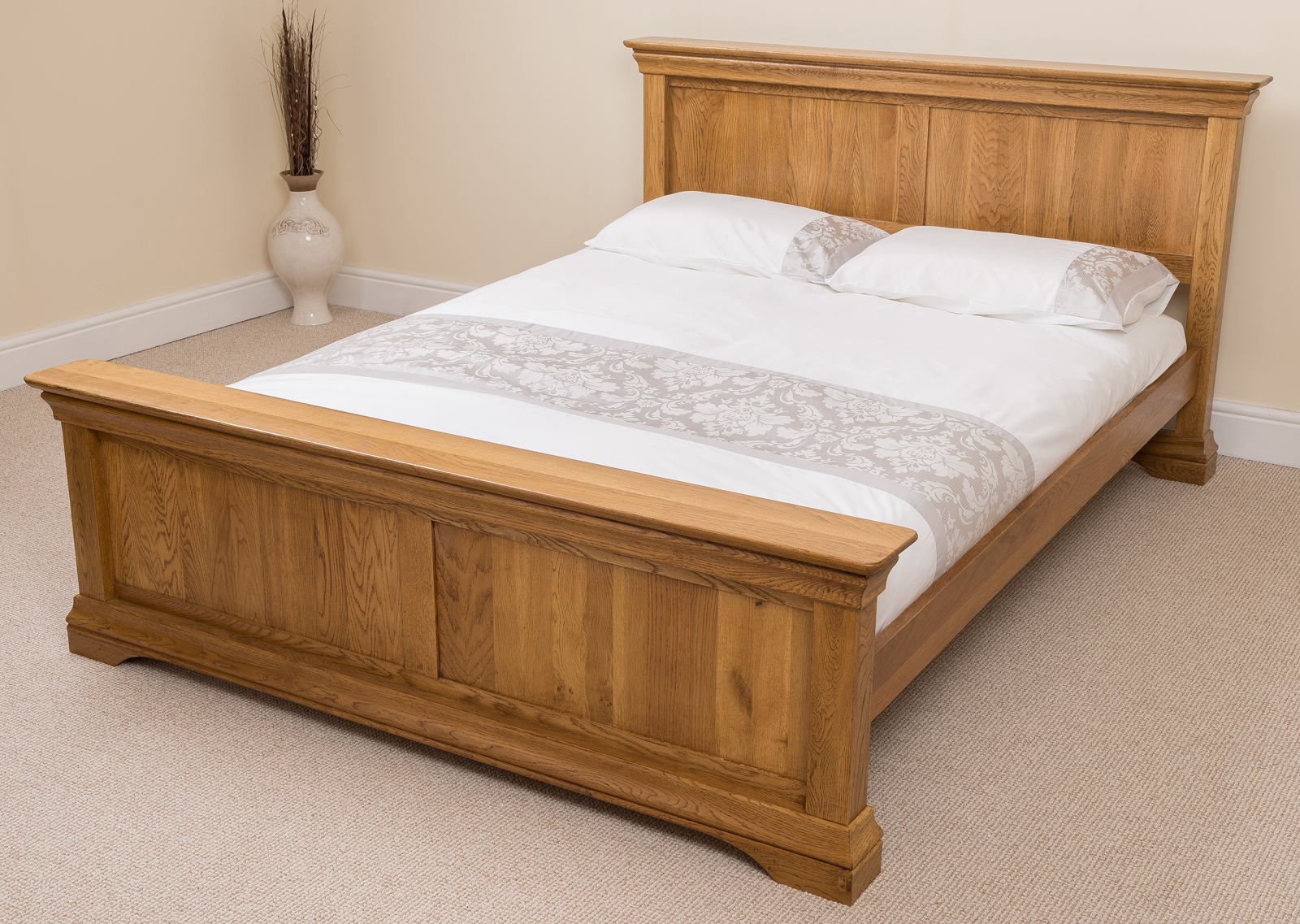 French Rustic Solid Oak Wood Super King Size Bed Frame
