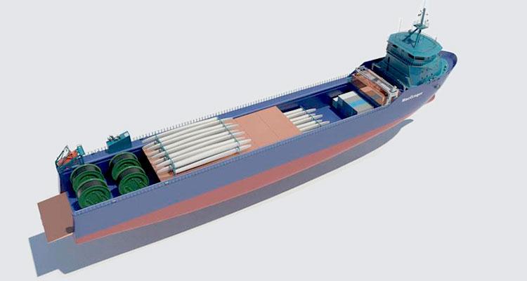 """◄ Meriauras skiss till ett """"Rebus-fartyg"""". Ett fartyg med öppet däck och möjlighet att ta ombord en mängd olika laster."""
