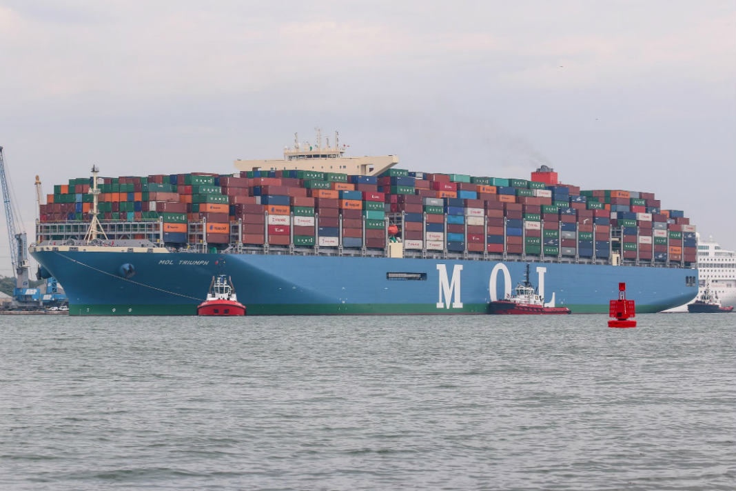 Ultra Large Mol Triumph Container Ship Docks In