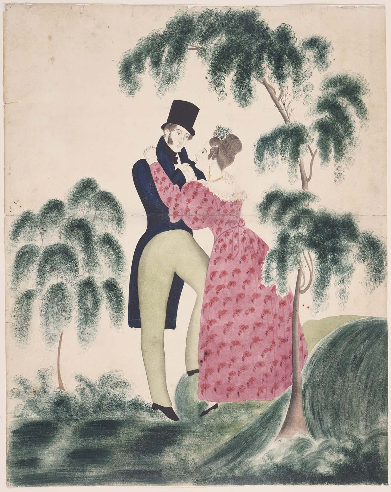 Image result for two lovers kissing beneath trees in painting