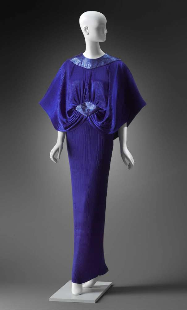Blue gown with beaded panels by Gnyuki Torimaru (Yuki)