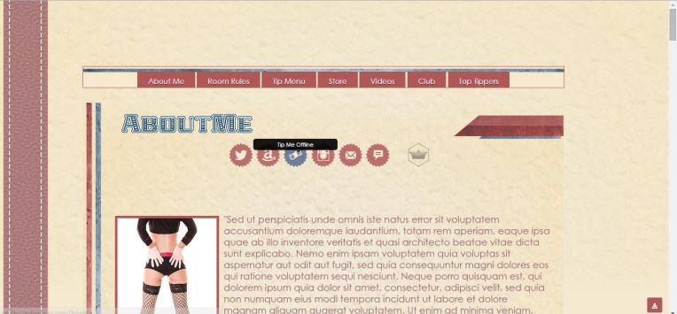 Retro Stripes - MyFreeCams template - Social buttons, tooltip active and supports Offline Tip URL