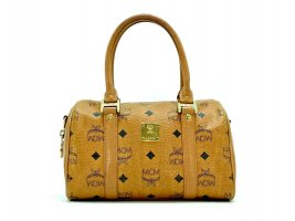mcm visetos mini boston bag cognac gold tasche henkeltasche small handtasche