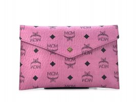 mcm visteos pochette pink clutch etui kosmetiktasche rosa small logoprint pouch