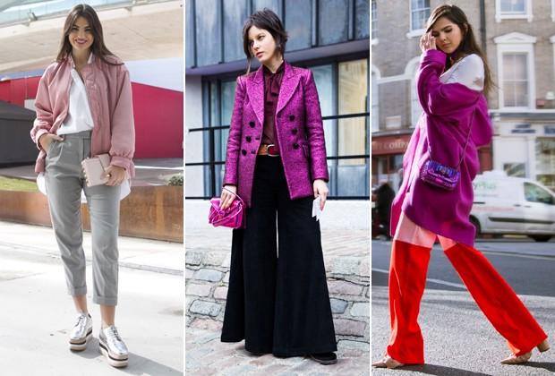 Rosa dominou o street style de Nova York e Londres (Foto: Imaxtree)