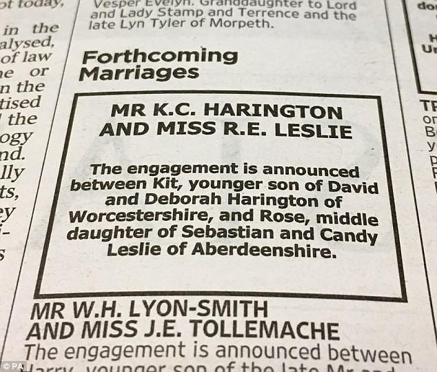 Anúncio no jornal do casamento de Kit Harrington e Rose Leslie (Foto: Reprodução)
