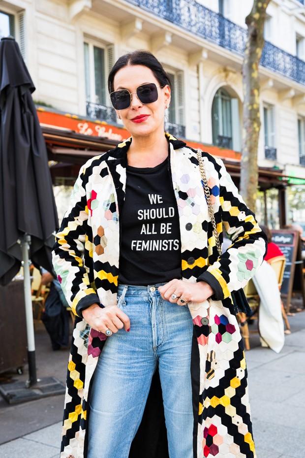 O look Dior de Carolina Ferraz para o desfile (Foto: Fabíola Prado)