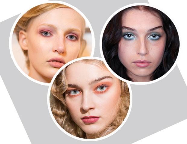Da esquerda para direita: maquiagem do desfile da Brock Collection, Cynthia Rowley e Tadashi Shoji (Foto: Imaxtree)