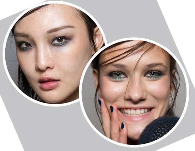 Na maquiagem do desfile da Emporio Armani foi usada sombra verde com brilho embaixo dos olhos (Foto: Imaxtree)