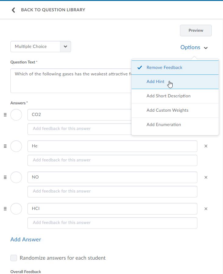 Brightspace details on quiz