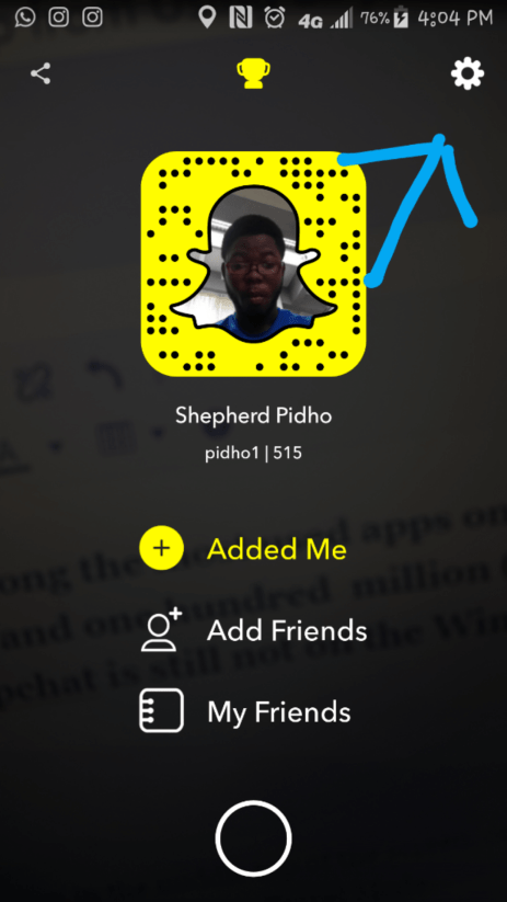 Open Snapchat and tap on your Snapchat profile icon in the middle top of the screen, or swipe down