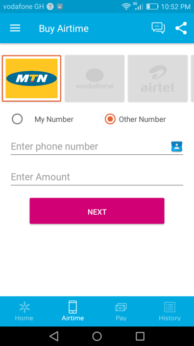 Mula Mobile App Airtime Screen