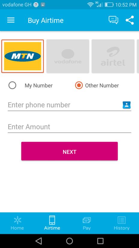 Mula Mobile App Airtime Screen