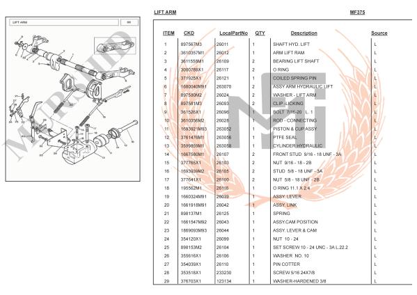 MF375 SPARE PARTS LIFT ARM