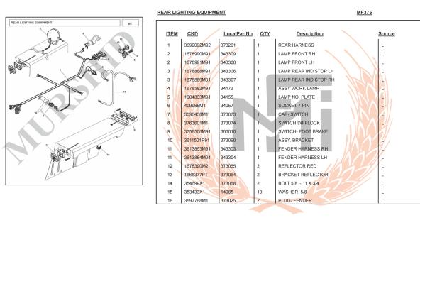 MF375 SPARE PARTS REAR LIGHTING EQUIPMENT