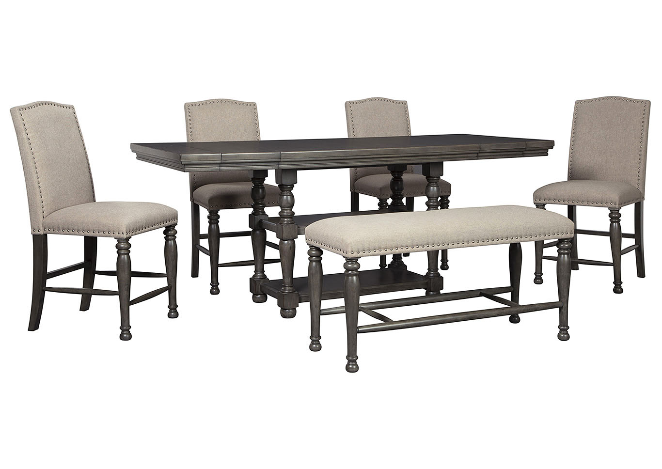 Audberry Dining Set W 4 Bar Stools Bench The Furniture Shop Duncanville Tx
