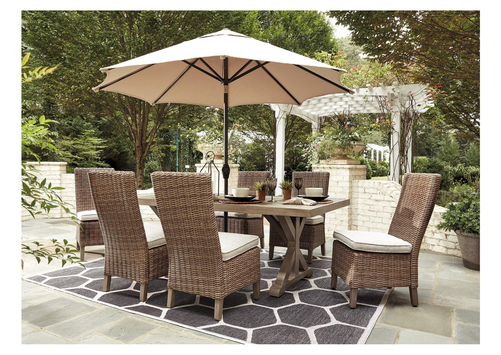 Beachcroft Beige Dining Table w/6 Side Chairs Ivan Smith on Beachcroft Beige Outdoor Living Room Set  id=58854